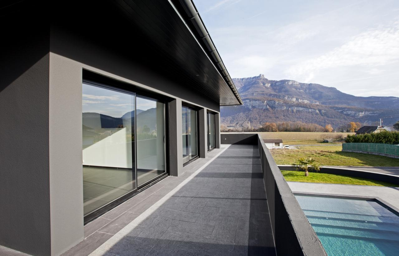Villa neuve ultra contemporaine aix les bains chambery vue terrasse